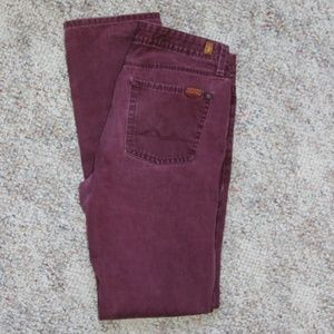 7 for All Man Kind Red/Maroon Skinny jean